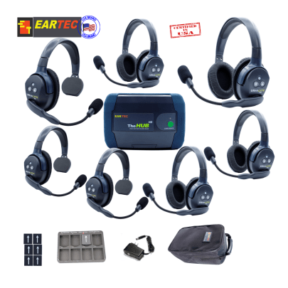 Eartec Hub734 Ultralite HD & Hub 7Users W/3 Single & 4 Double Headset Communications & IFB Eartec