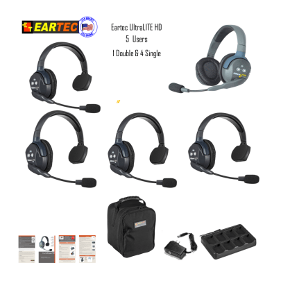 Eartec Ul541 Ultralite 5 Pers. System W/ 4 Single & 1 Double Headsets Communications & IFB Eartec