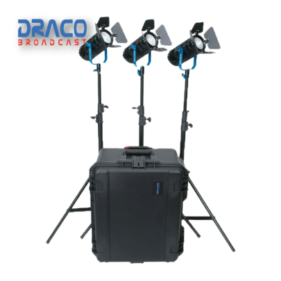 Dracast Boltray Plus 400 Daylight 3 Light Kit with Dual NP-F Battery Plates and Injection Molded Travel Case Kit Lights Draco Broadcast