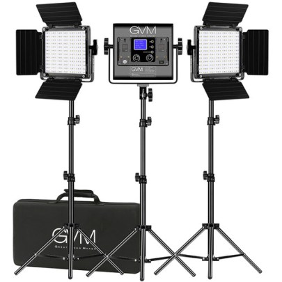 GVM 800D-RGB LED Studio 3-Video Light Kit Continuous Lighting GVM