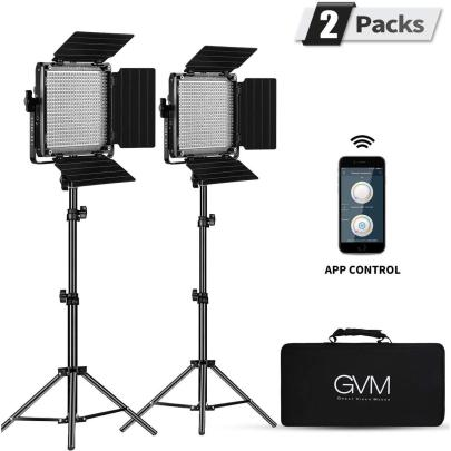 GVM 2 Pack LED 480LS-B2L KIT Video Lighting Kits with APP Control, Bi-Color Best Sellers GVM