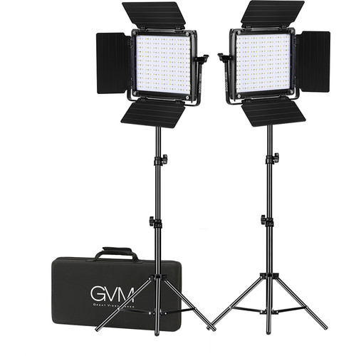 GVM 800D-RGB LED Studio 2-Video Light Kit Continuous Lighting GVM