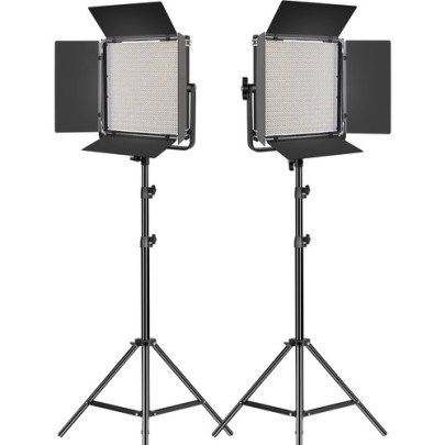 GVM LED1200 Bi-Color LED Light Panel 2-Light Kit with Stands Continuous Lighting GVM