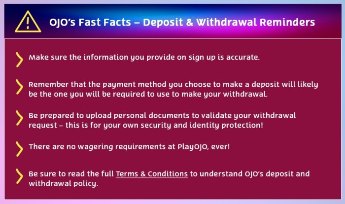 ojo-fast-facts deposit and withdrawal tip