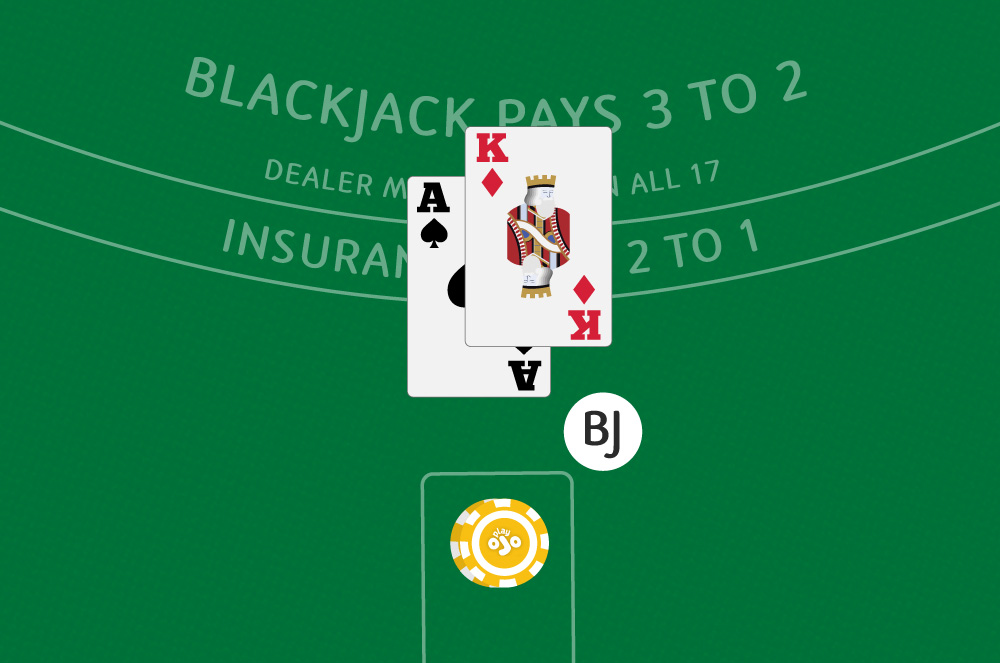 Player having a blackjack in his hand