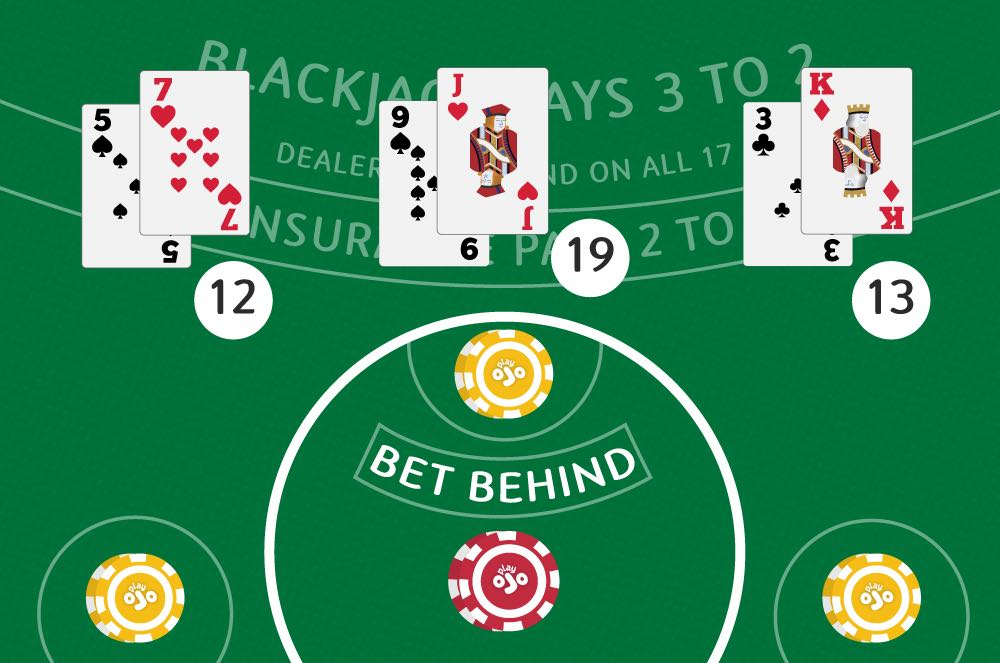 Place your bet behind the chips to pay the blackjack card