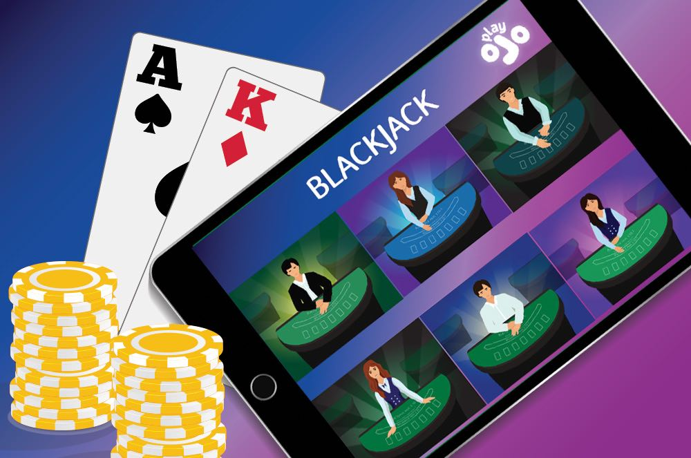PlayOJO blackjack games lobby on a landscape tablet or desktop monitor