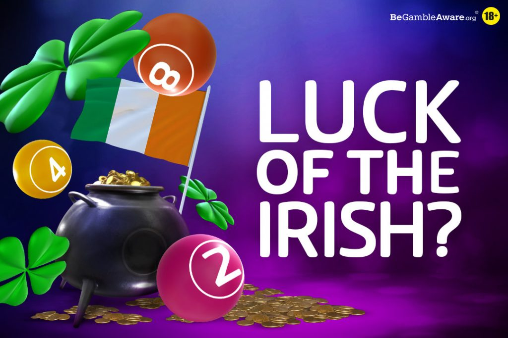 irish pot and lucky flowers with irish flag and bingo balls