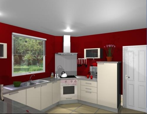 Cuisine Blanche Mur Rouge Simple With Cuisine Blanche Mur