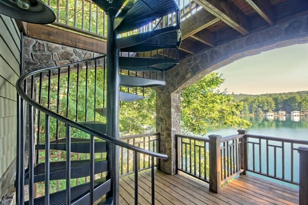 Outdoor Spiral Staircases Weatherproof Paragon Stairs   5 Foot Spiral Staircase   Metal   Hayden Gray   Reroute Galvanized   Steel   Handrail