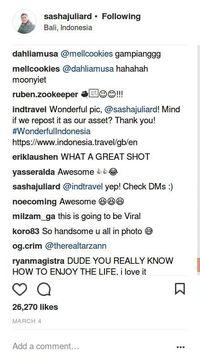 Screenshot komentar (sashajuliard/Instagram)