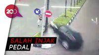 Detik-detik Mobil Terbang Hantam Pejalan Kaki di Batam