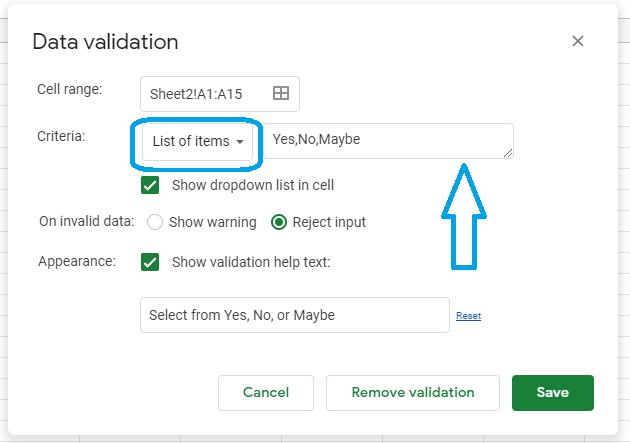 google sheets drop down settings