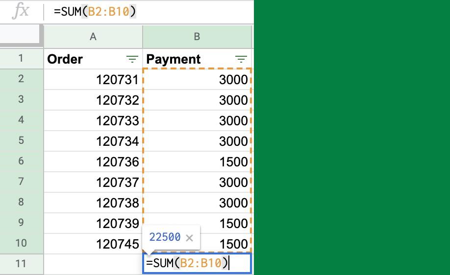 google sheets sum formula column