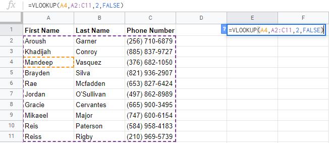 google sheets formulas vlookup example