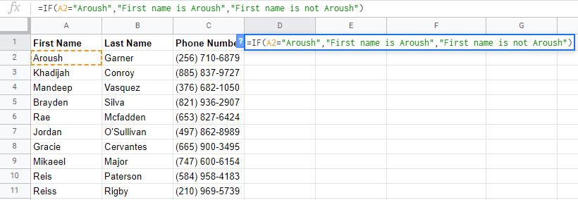google sheets formulas if example