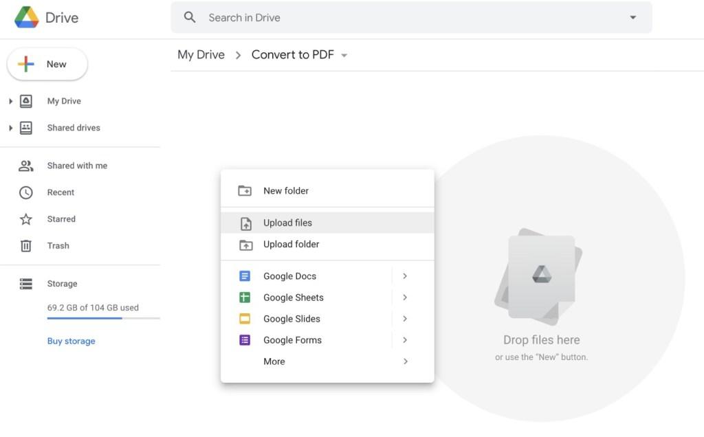 pdf to google docs drive