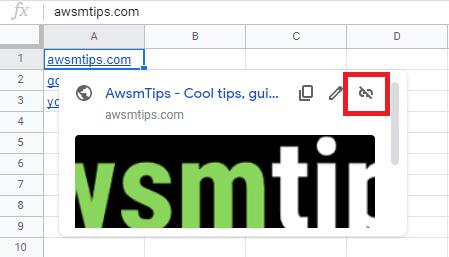 remove hyperlink button google sheets
