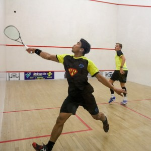 A textbook squash backhand volley