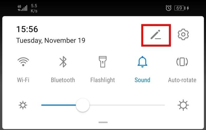 android paramètres rapides