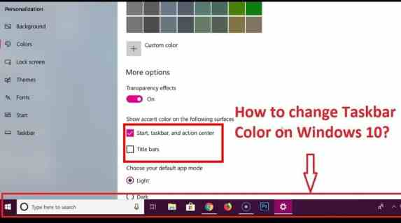 win taskbar color