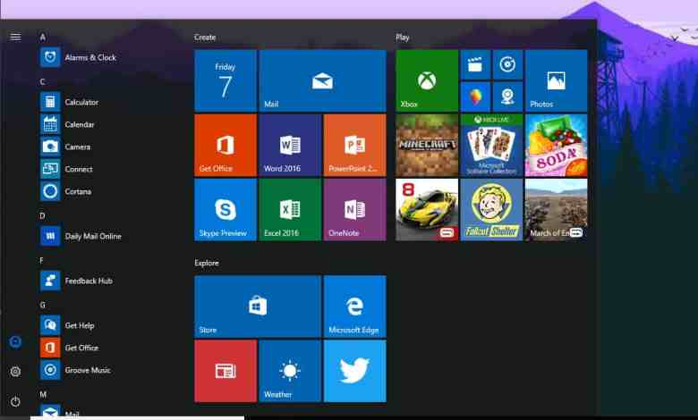 start menu office windows