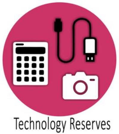 Tech reserves sign with calculator, camera and a charger