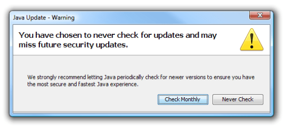 Java update warning