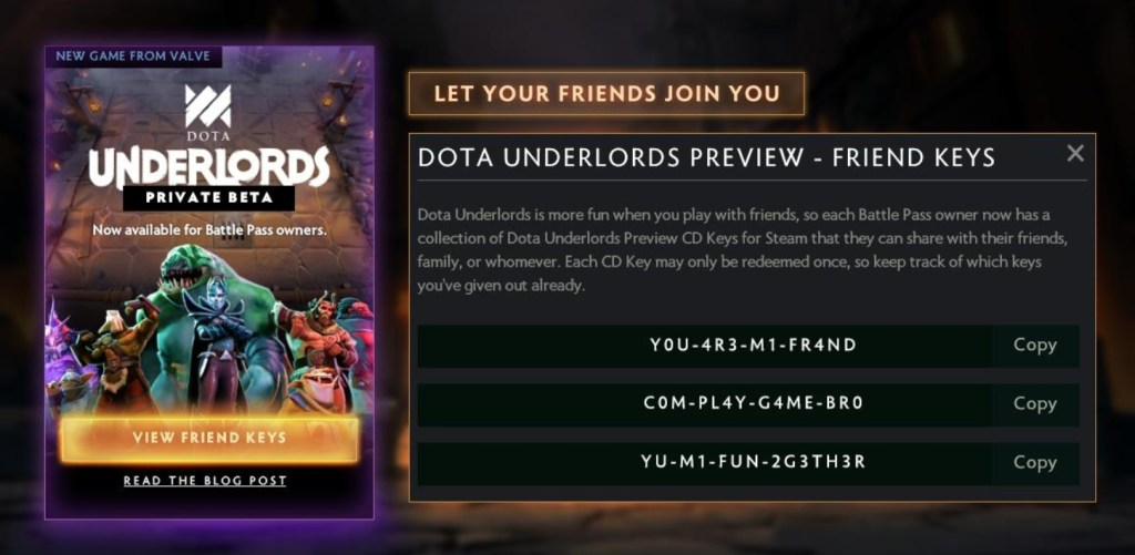 Dota Underlords Battle pass Friend Keys