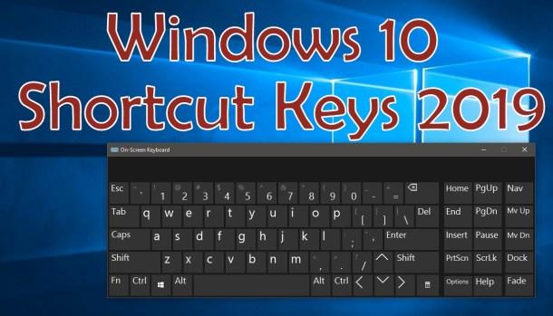 Windows 10 Shortcut keys 2019