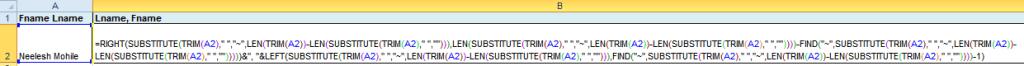 Lname Fname formula B2 Cell