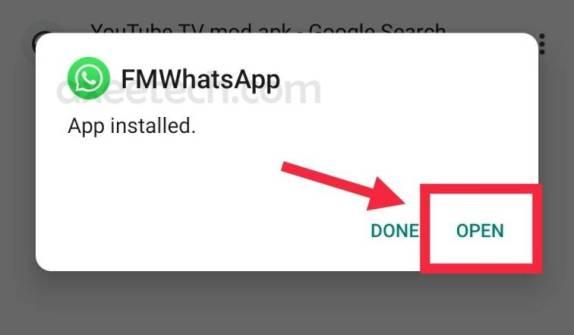 FMWhatsApp apk installation