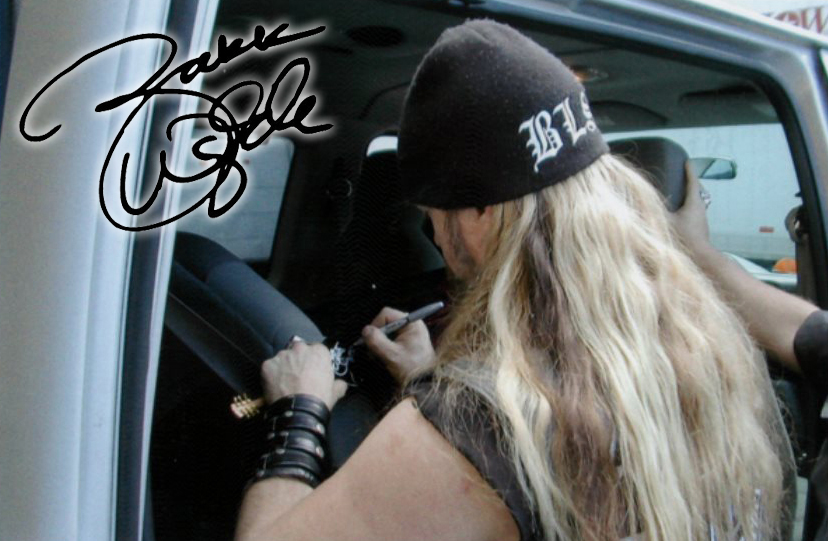 Zakk Wylde of BLS & Ozzy Signs His Autograph on Miniature Guitar by AXE HEAVEN®