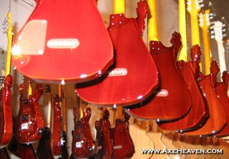 McSwain miniature guitars in AXE HEAVEN® drying facility.