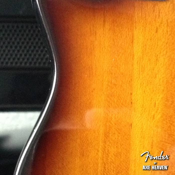 Back Close-Up Detail of Officially Licensed Miniature Classic Sunburst Fender™ Precision Bass™ Guitar