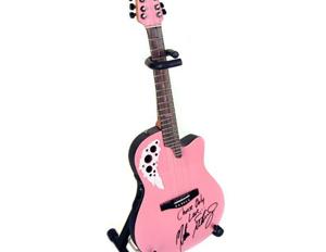 Stand Included with Melissa Etheridge Custom Pink Miniature Replica Adamas Signature Ovation Guitar
