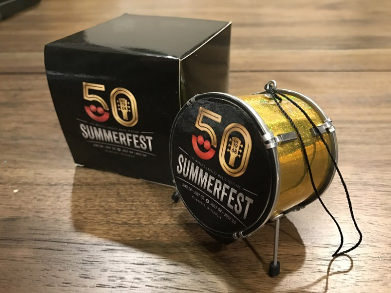"""Custom Promotional 2.5"""" Bass Drum Holiday Ornament and Gift Box for Milwaukee Summerfest 50th Anniversary"""