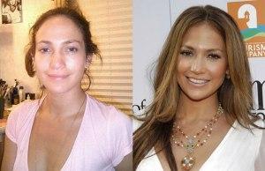 Дженифер Лопес, как говопится ДО и ПОСЛЕ макияжа, который превращает ее из обычной женщины в королеву экрана
