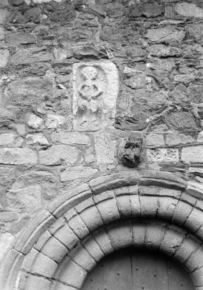 Photograph of the Sheela na gig, Church Stretton, Shropshire [c.1930s-1980s] by John Piper 1903-1992