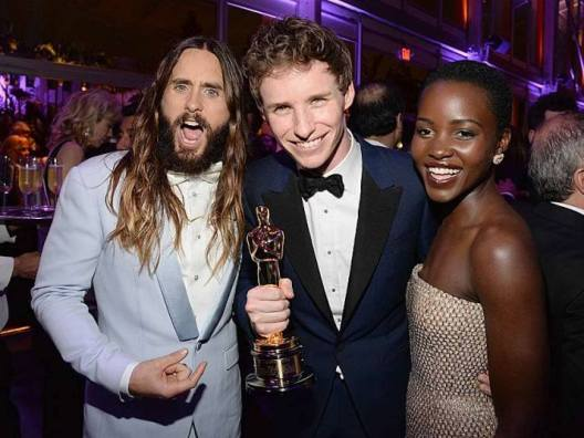 From left to right, Jared Leto, Eddie Redmayne and Lupita Nyong'o