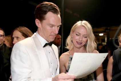 Benedict Cumberbatch and Naomi Watts getting ready to present the Academy Award for Film Editing