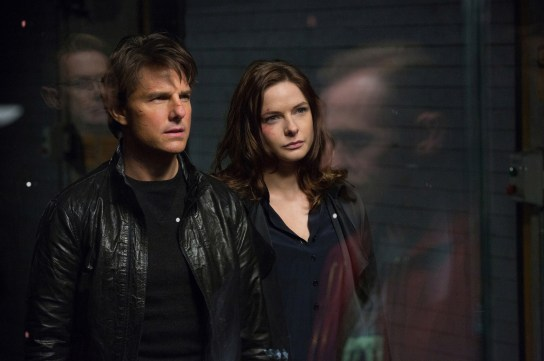 Tom Cruise as Ethan Hunt and Rebecca Ferguson as Ilsa Faust, Mission: Impossible - Rogue Nation (2015)