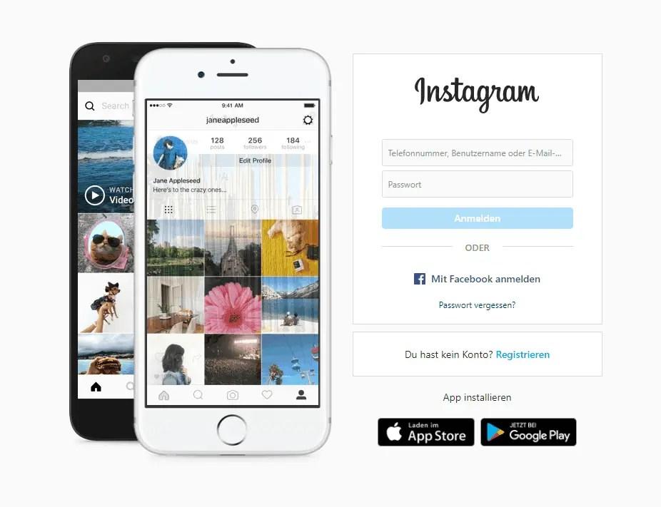 instagram anmeldung