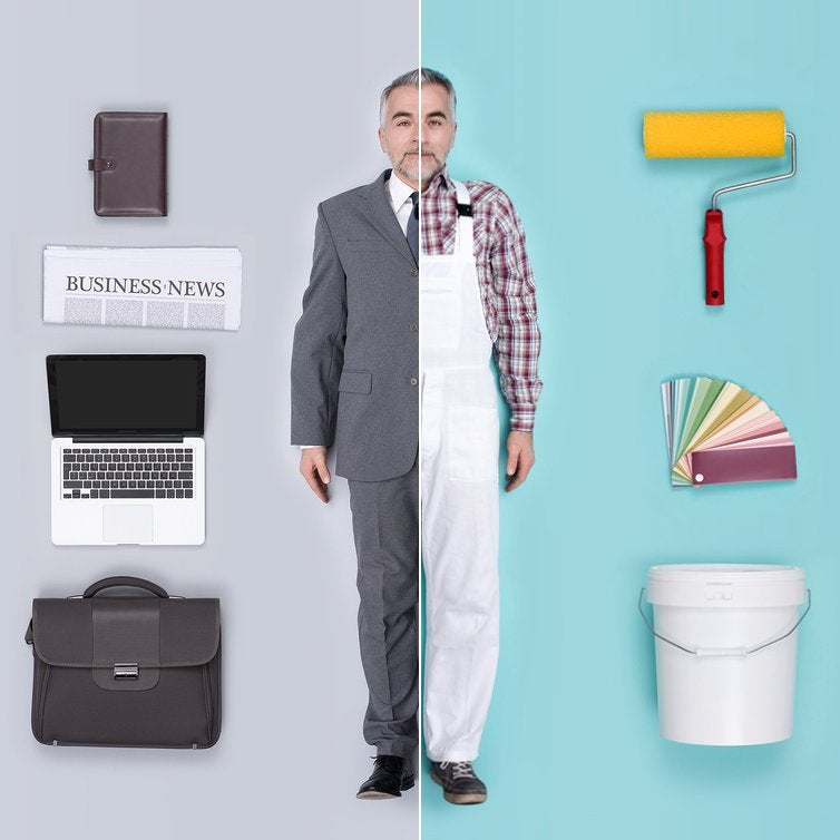 Divided image showing a man in business attire with a computer on one side, and wearing overalls with painting equipment on the other