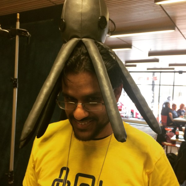 Sid with an octopus on his head