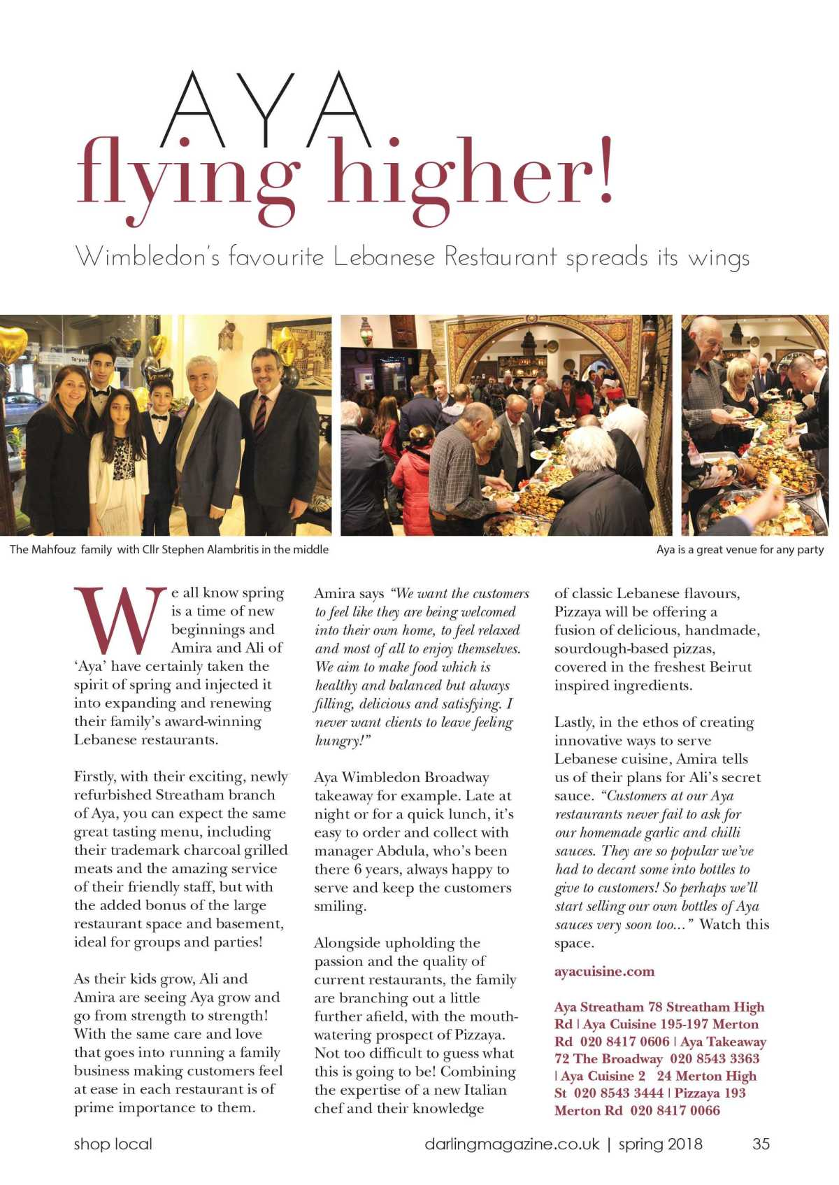 Wimbledon\'s Favourite Lebanese Restaurant Spreads Its Wings – Aya ...