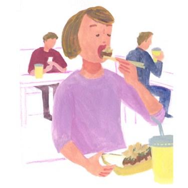 たこ焼きを食べる