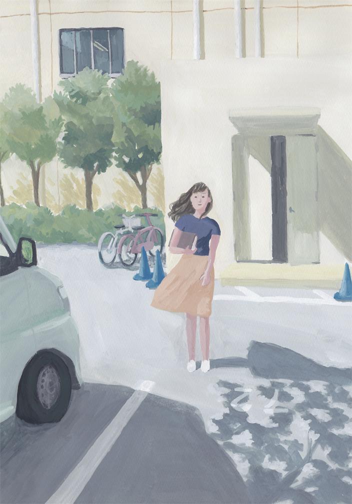 ビル 駐車場 女性