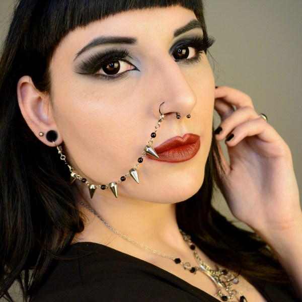 Ayame Designs handcrafted spiked beaded nose to ear chain