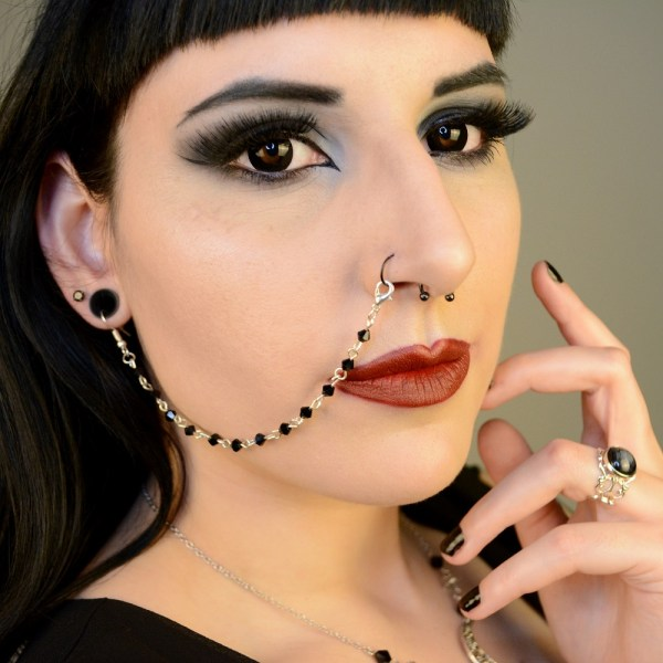 Ayame Designs handcrafted beaded nose to ear chain